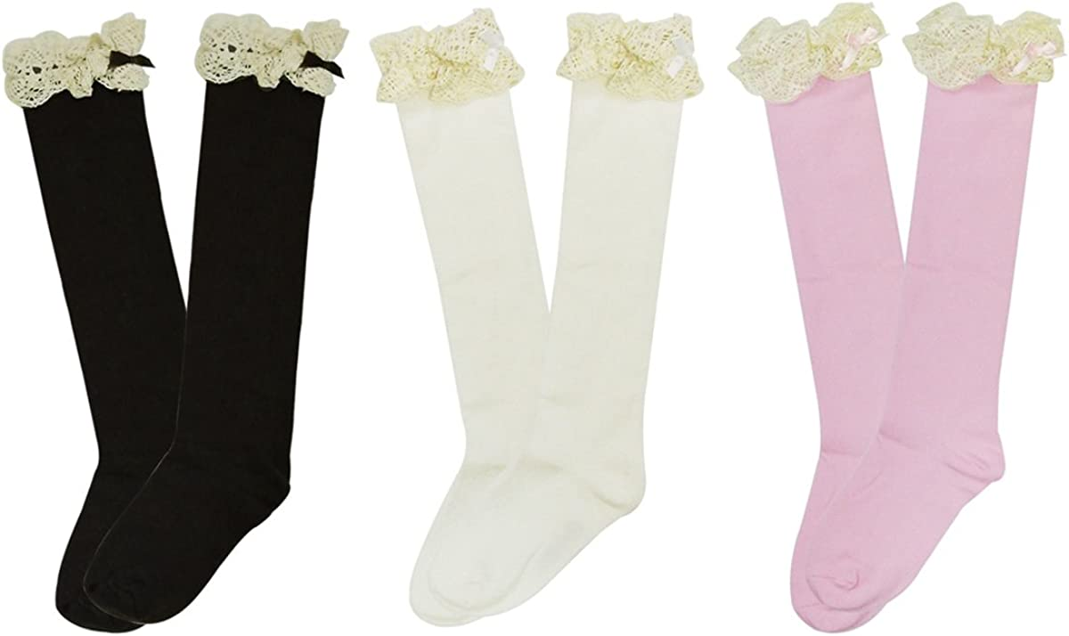 Little Girls Knee High Socks With Lace and Ribbon