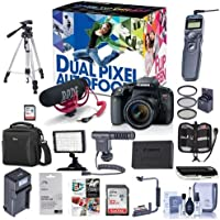 Canon EOS Rebel T7i DSLR Video Creator Kit with EF-S 18-55mm IS Lens, Rode VideoMic Go, 32GB SD Card - Bundle with Camera Case, Video Light, Remote Shutter Trigger, Shotgun Mic, Software Pack and More