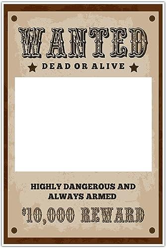Amazon.com: Wanted Dead or Alive $10,000 Reward Selfie Frame Photo ...
