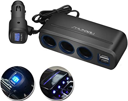 Amazon.com: Gyges 3-socket adaptador de mechero, 12 V/24 V ...
