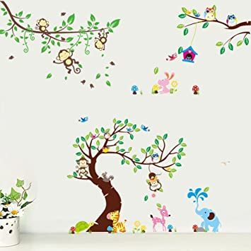 Tier Elefant Eule Affe Giraffe Baum Wandtattoo Wandaufkleber ...