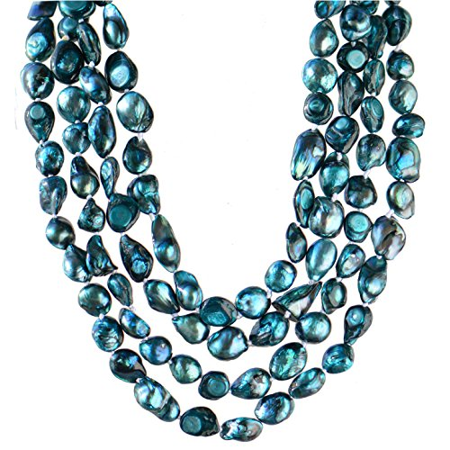 9mm Freshwater Peacock Pearl (9-10mm Baroque Cultured Freshwater Pearl Necklace Strand Endless Palette Pure PEACOCK BLUE 60