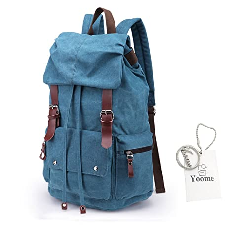 YOOME 14 Inch Canvas Backpack Rucksack Laptop Dayback Outdoor Bags Men  Travel College Hiking Camping Weekend c47df686b0238