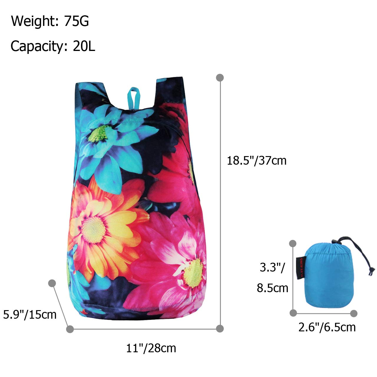 CHIC DIARY 3D Printed Packable Lightweight Travel Hiking Backpack Daypack (Flower(Rose))