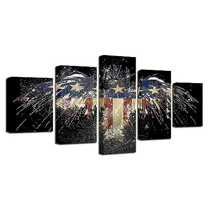 Amazon 5 Panels Creative Vintage American Flag Canvas Prints