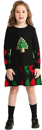 SMILING PINKER Girls Christmas Dress Jingle Bells Sequins Xmas Tree Knit Ugly Sweater