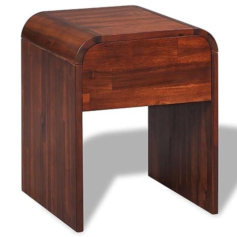 Amazon.com: vidaXL - Mesita de noche de madera de acacia ...