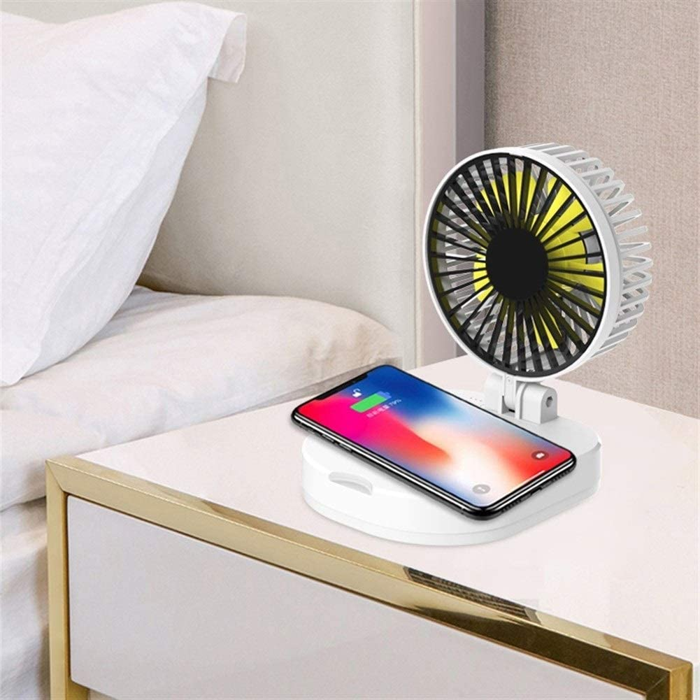 Color : Pink, Size : Five Thousand mAh Air Cooler USB Small Fan Folding Portable Mobile Power Mini Fan Wireless Charger 10000mAh 5000mAh Fan