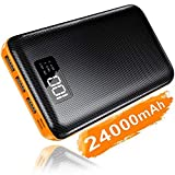 Portable Charger Power Bank 24000mAh - High Capacity with LCD Digital Display,3 USB Output & Dual Input External Battery Pack Compatible with Smart Phones,Android Phone,Tablet and More (Orange)