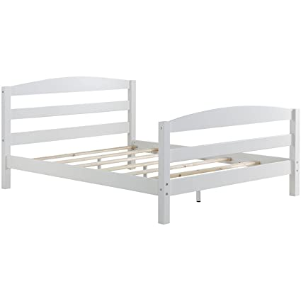 Minimalist Design Full Platform Bed, Arched Open Slat Headboard And  Footboard, Durable Side Rails