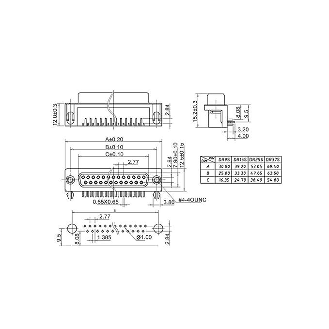sourcing map Connettore D-Sub FEMMINA FEMMINA a 9 pin 2-angolo retto fila terminale porta nera 1pz