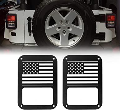 Matte Black Extreme Off-Road Jeep Wrangler Taillights Covers Tail Light Guard Rear Light Cover Black America Flag Jeep Wrangler Accessories JK JKU /& Unlimited Rubicon Sahara Sports,2007-2018 2 Pc