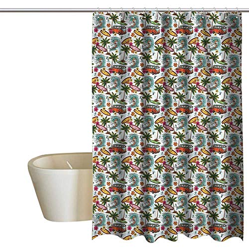 (Denruny Shower Curtains for Bathroom with Zip Out Liner Abstract,Suft Hawaii Tropical,W48 x L72,Shower Curtain for Bathroom)