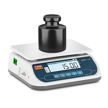 TEM Balanza De Mesa Báscula para Comercio TSRP+LCD15T-B1 (Calibrada, Precisión
