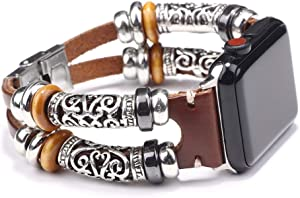 NIGHTCRUZ Compatible with Boho Fancy Apple Watch Band - Multilayer Leather Bracelet Vintage for Apple Watch Series 5/4/3 (2 Straps Brown, 38mm/40mm)