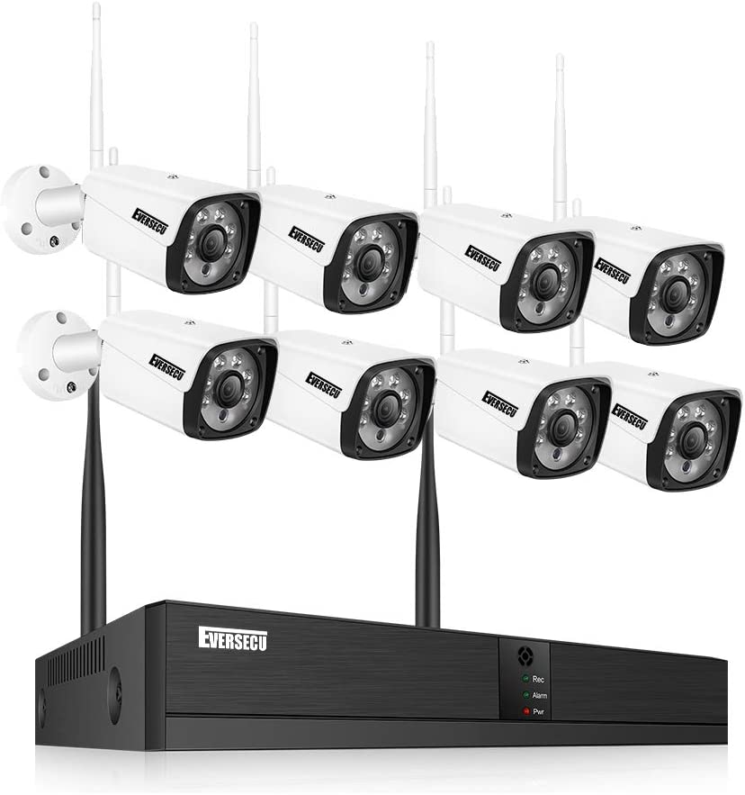 Eversecu 8CH Wireless Security Camera System, Video Security System,8pcs 1080P Bullet IP Cameras 1pcs 8CH 1080P NVR,Support Motion Detection Alarm & Remote View by iOS or Android App,No Hard Drive