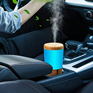 One Fire Car Diffuser Essential Oil Humidifier, USB Plug in Vaporizer Diffusers Mini Portable Aromatherapy Cup Holder Humidifiers for Vehicle Office Travel Home - Wood