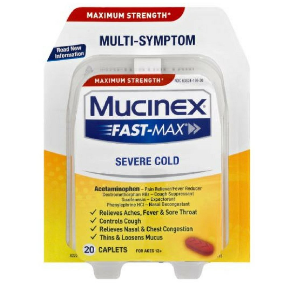 Mucinex Fast-Max Adult Severe Cold Liquid Caplets, 20 ct(Pack of 12)