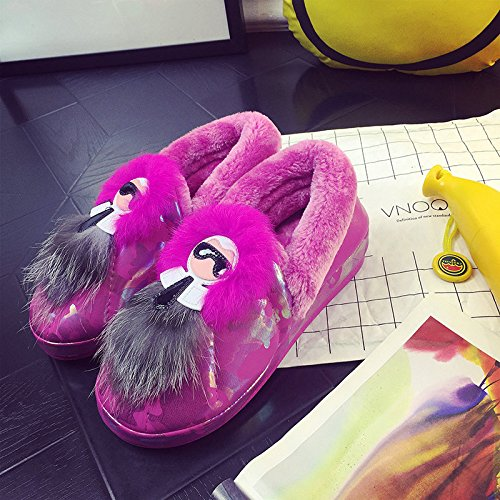 Y-Hui femmina pantofole di cotone in autunno e in inverno la borsa con le suole spesse Slip caldo scarpe scarpe invernali maschio carino coppia,39-40 (Fit per 37-38 piedi),Rosa viola