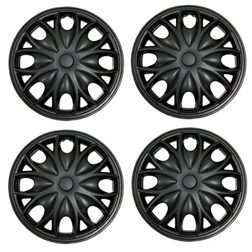 Tuningpros WC3-15-3526-B - Pack of 4 Hubcaps - 15-Inches Style 3526 Snap-On (Pop-On) Type Matte Black Wheel Covers Hub-caps ()