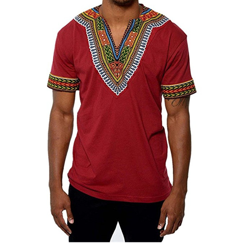 Gtealife Men's African Print Dashiki T-Shirt Tops Blouse (1-Red, M)