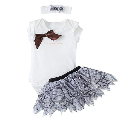 3pcs Suit Baby Girls Newborn Summer Clothes Floral Print Sleeveless Mesh T-shirt Short Gray Tutu Pants Bow Headband 3pcs Outfit Mother & Kids