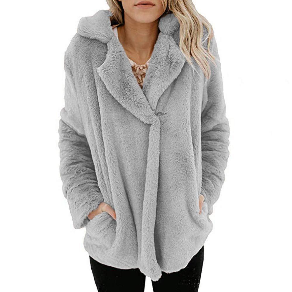 Women Coat, Shybuy Women's Long Sleeve Lapel Faux Fur Cardigan Sweater Coat Winter Warm Loose Jacket (S, Gray)