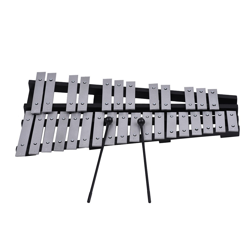 ammoon Foldable 30 Note Glockenspiel Xylophone Wooden Frame Aluminum Bars Educational Percussion Musical Instrument Gift with Carrying Bag