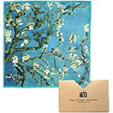 """EXTRA LARGE [4 Pack] Classic Art (Vincent Van Gogh """"Almond Blossoms"""") - ULTRA PREMIUM QUALITY Clean & Clear Microfiber Cleaning Cloths (Best for Camera Lens, Glasses, Screens, and all Lens.)"""