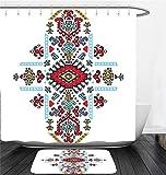 Nalahome Bath Suit: Showercurtain Bathrug Bathtowel Handtowel Geometric Decor Mexican and African Ethnic Tribal Ornamental Folkloric Unique Vintage Pattern Multi