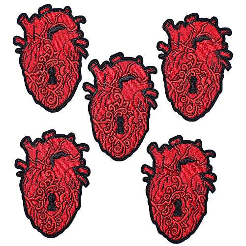 AXEN 5PCS The Key to My Heart Patches, Embroidered Iron on Patches DIY Accessories, Cute Sewing Applique for Jackets, Hats, Backpacks, Jeans
