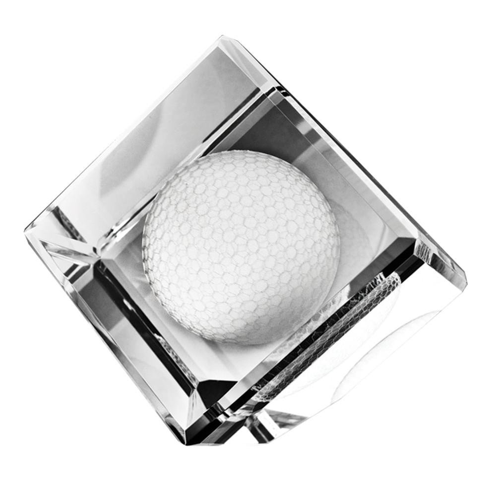 Standing Crystal Cube with 3D Golf Ball