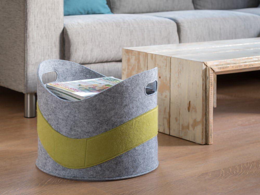 HT Filz-Korb zur Aufbewahrung f/ür Holz Spielzeug Zeitungen in der Farbe grau gr/ün