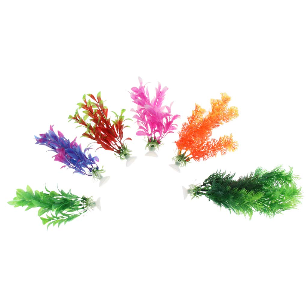 B Blesiya 6pcs Beauty Water Grass Fish Tank Aquatic Simulation Plant Ornament Decor 16-22cm with Suction Cup
