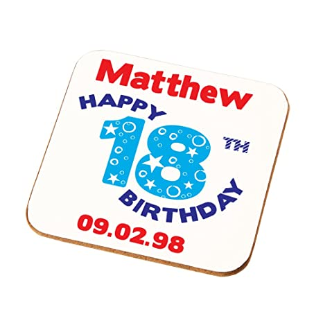 Personalised 18th Birthday Gift For Boys Sons Brothers Nephews Grandsons Coaster Add