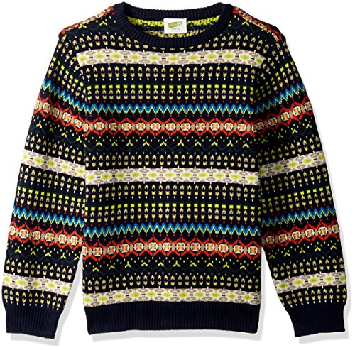 Crazy 8 Boys' Little Long Sleeve Sweater Fair Isle, Navy, -
