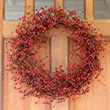 Everton Red Berry Wreath 24 Inch -Gorgeous Winter Front Door Wreath Design Will Embellish Decor, Beautiful White Gift Box Included
