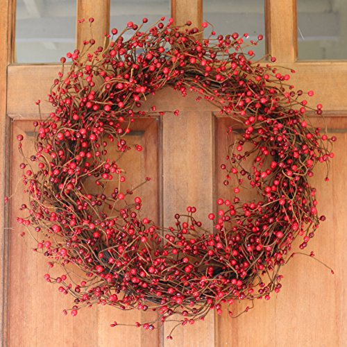 Everton Red Berry Wreath 24 Inch -Gorgeous Front Door Wreath Design Will Embellish Decor Christmas And All Winter, Beautiful White Gift Box Included Christmas Wreaths