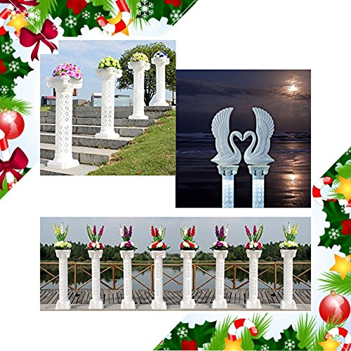 Adorox (53'' in - 2 Columns) Decorative Plastic Wedding Event Column Adjustable Height and Holds Flower Plate by Adorox