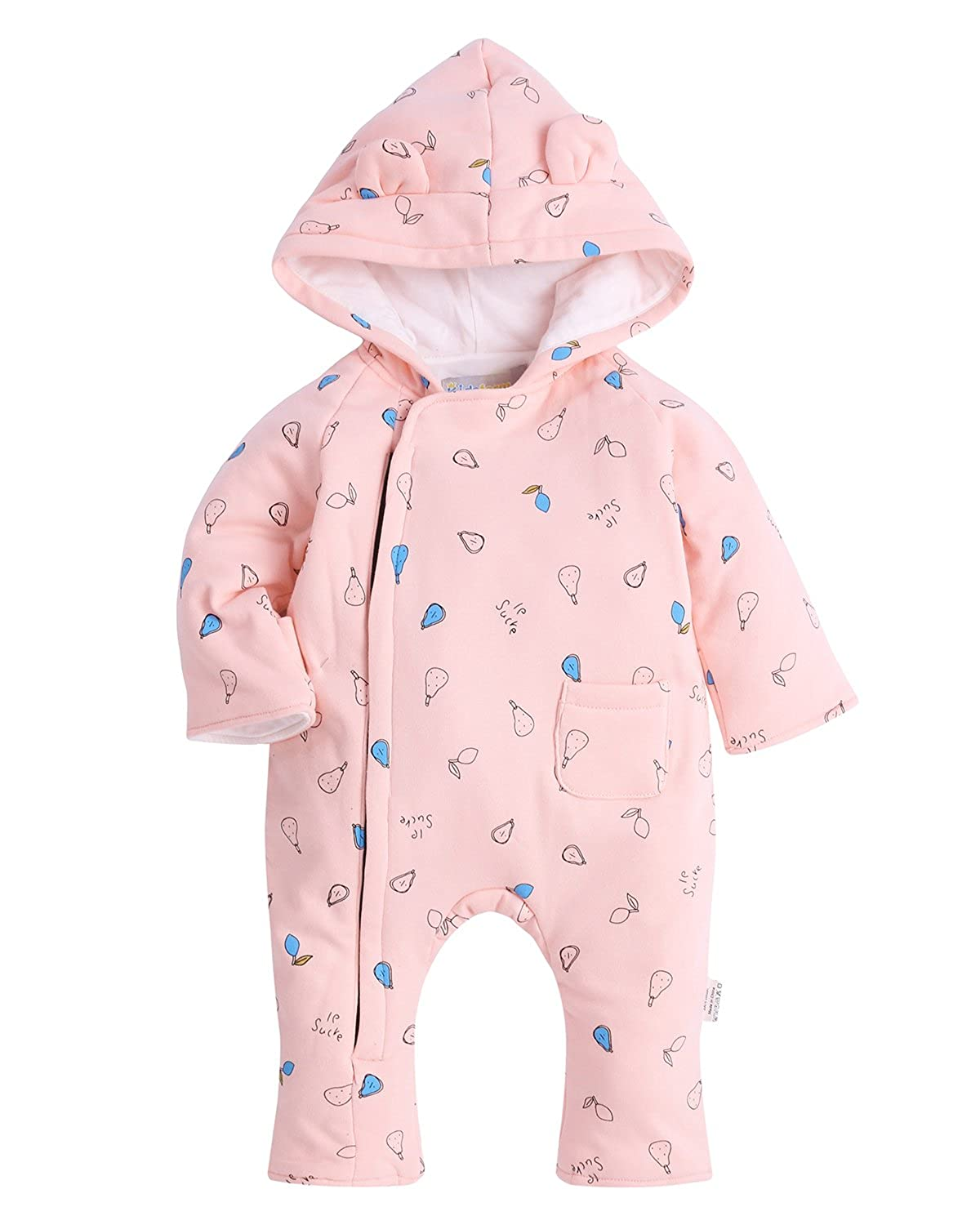 Kidsform Unisex Baby Winter Jumpsuit Hooded Romper Fleece Onesie All in One Snow Suit Outfits KIDSFORMyonnciiuk3353
