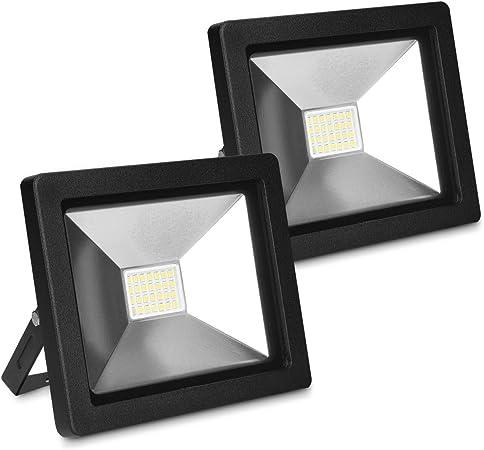 kwmobile 2x Foco proyector LED de exteriores de 20W - Reflector de 1600 lúmenes para jardín garaje - Set de 2 lámparas LED para interior y exterior: Amazon.es: Bricolaje y herramientas