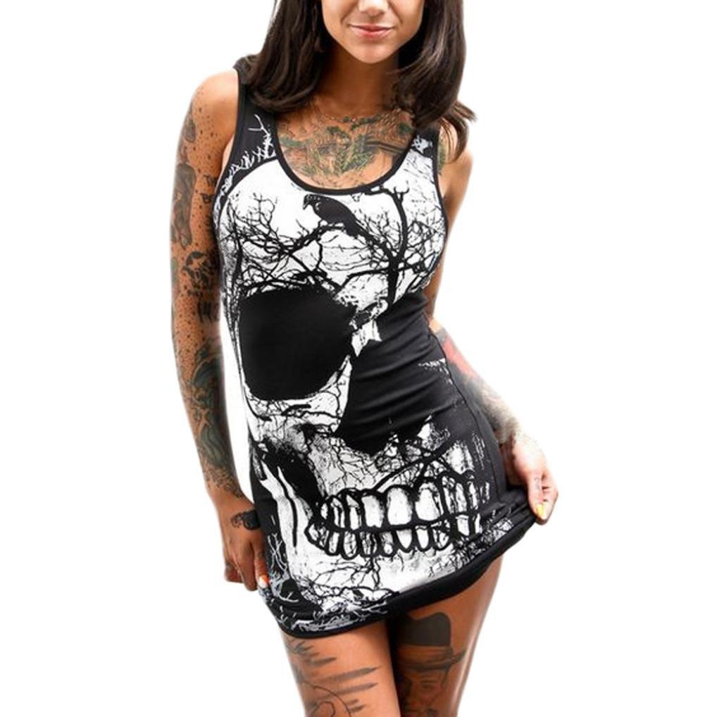 Kinrui Women's Sleeveless Skull Printed Mini Package Hip Dress Plus Size Halloween Costume (Black, XL)