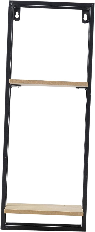 dise/ño r/ústico Metal y Madera 1 Shelf Wide Color Negro Estantes de exhibici/ón para Interior URBNLIVING