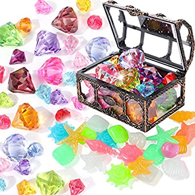 Silver White Hercugifts Diving Gem Pool Toy Colorful Ocean Theme Diamond Set with Treasure Pirate Box Summer Swimming Gem Diving Toys Set Dive Throw Toy Including Starfish Conch and Dolphin gem