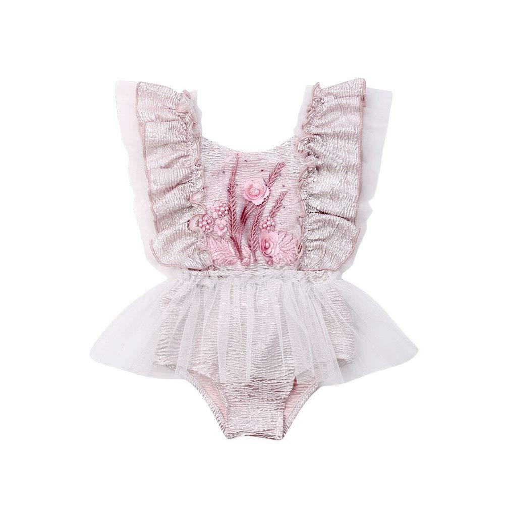 rechange Newborn Infant Baby Girl Sunflower Print V Neck Sleeveless Backless Romper Tutu Dress Bodusuit