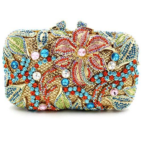Damen Clutch Abendtasche Handtasche Geldbörse Glitzertasche Strass Kristall Lilie Tasche mit wechselbare Trageketten von Santimon(8 Kolorit) Mehrfarbig