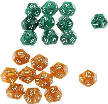 B Blesiya 20x Dados de 12 Caras D12 Dice Prop para Juegos de Mesa - Chocolate + Verde: Amazon.es: Juguetes y juegos