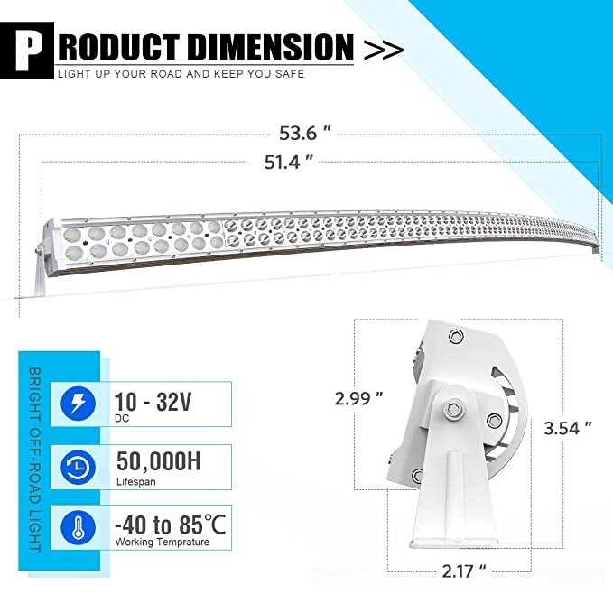 YITAMOTOR 52 Inch White Curved Led Light Bar 300W Spot Flood Combo on