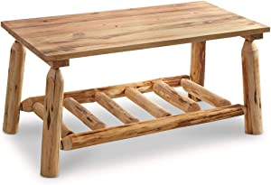 CASTLECREEK Pine Log Coffee Table, Rustic Natural Weathered Look Wooden Rectangular Center Tables for Living Room