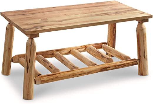 Amazon Com Castlecreek Pine Log Coffee Table Rustic Natural Weathered Look Wooden Rectangular Center Tables For Living Room Furniture Decor